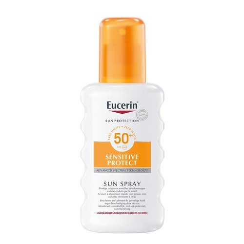 Eucerin Sun Sensitive Protect Spray SPF 50+ parfumvrije zonnebrandspray voor het lichaam_
