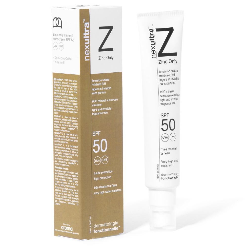 Universkin Nexultra Z zonnebrandcrème met zinkoxide voor de gevoelige en de acnegevoelige huid_box